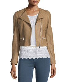 Odina Asymmetric-Zip Soft Leather Jacket