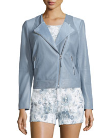 Fifi Leather Moto Jacket, Bluebird