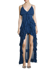 Laverne Sleeveless Asymmetric Ruffled Gown