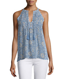 Shara Split-Neck Printed Silk Top