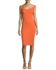 Alaska Cap-Sleeve Seamed Sheath Dress