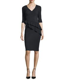Faridamm Double-Peplum Sheath Dress, Nero