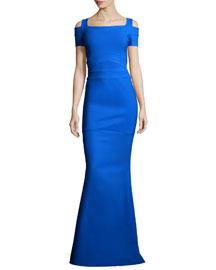 Short-Sleeve Cold-Shoulder Mermaid Gown
