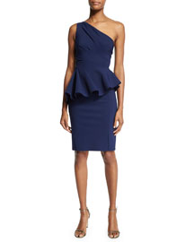 One-Shoulder Peplum Cocktail Dress, Blue Notte