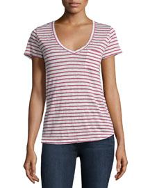 Lynnea V-Neck Striped Tee, Red/White Stripe