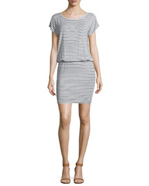 Kyler Striped Jersey Blouson Dress