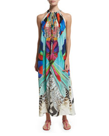Printed Silk Crepe Halter Maxi Dress, Soaring