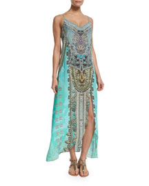 Embellished Low-Back Long Coverup Dress
