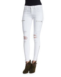 Kassidy Distressed Skinny Jeans, White