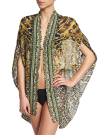 Open-Front Printed Silk Cardigan/Cape Coverup, Armada