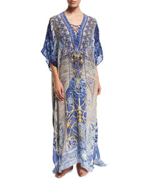 Printed Lace-Up Long Caftan Coverup