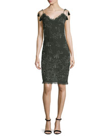 Remsen Metallic-Embroidered Dress, Camouflage