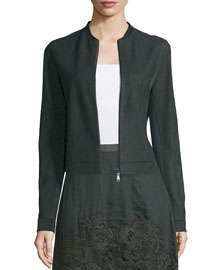 Cleary Zip-Front Suede Jacket, Camouflage
