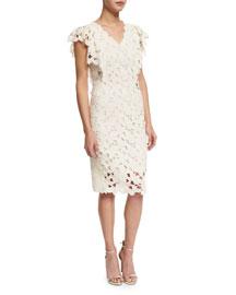 Morgan Flutter-Sleeve Macrame Dress