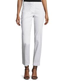 Jillian Linen-Blend Slim-Leg Pants, White