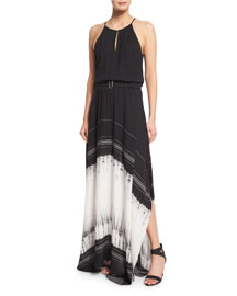 Jeffrey Silk Tie-Dye Maxi Dress, Black/White