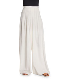 Zoe Silk High-Waist Wide-Leg Pants, Ivory