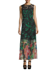 Corinne Sleeveless Mixed-Print Maxi Dress, Green