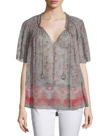 Short-Sleeve Tassel-Tie Printed Blouse