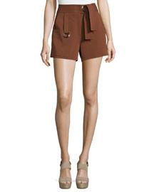 Lucille High-Rise Grommet Shorts, Henna