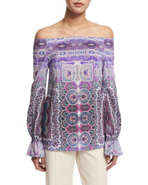 Off-the-Shoulder Paisley-Print Blouse