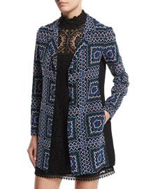 Notch-Collar Patchwork Jacket
