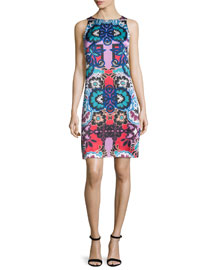Sleeveless Floral-Print Sheath Dress, Red/Multi