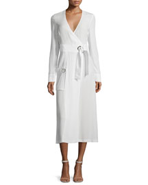 Ray Long-Sleeve Crepe Wrap Dress, White