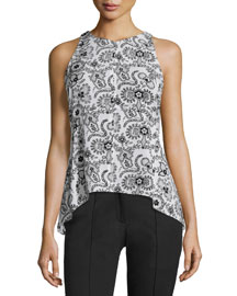 Stuart Sleeveless Henna Silk Top, Black/White