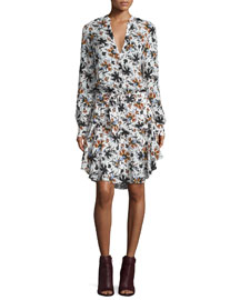Way Long-Sleeve Floral Silk Dress, White/Multicolor
