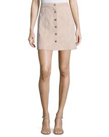 Sinall L Benna Suede Button-Front Skirt