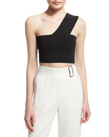 Georgia One-Shoulder Crop Top, Black