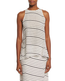 Kalstinn Bevel Striped Sleeveless Top
