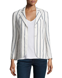 Brightdale Wide-Stripe Wool Blazer, White/Blue