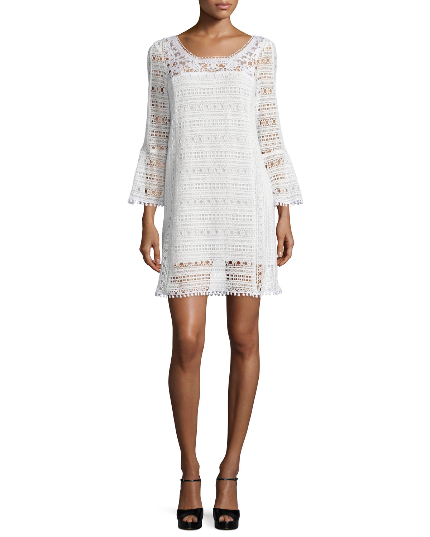 Nanette Lepore Long-Sleeve Lace Dress, White, Size: 0