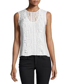 Sleeveless Lace-Appliqu� Top, White