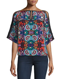 Half-Sleeve Floral-Print Top, Red/Multi