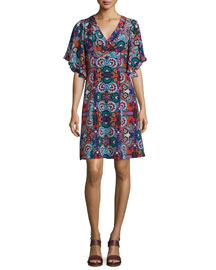 Flutter-Sleeve Floral-Print Silk Dress, Red/Multi