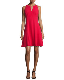Sleeveless Fit-&-Flare Dress, Red