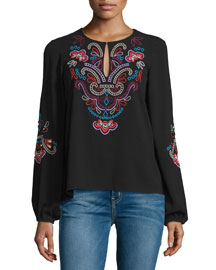 Long-Sleeve Floral-Embroidered Top, Black
