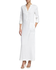 Long-Sleeve Linen Dress