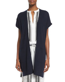 Cashmere Short-Sleeve Long Vest, Coastal