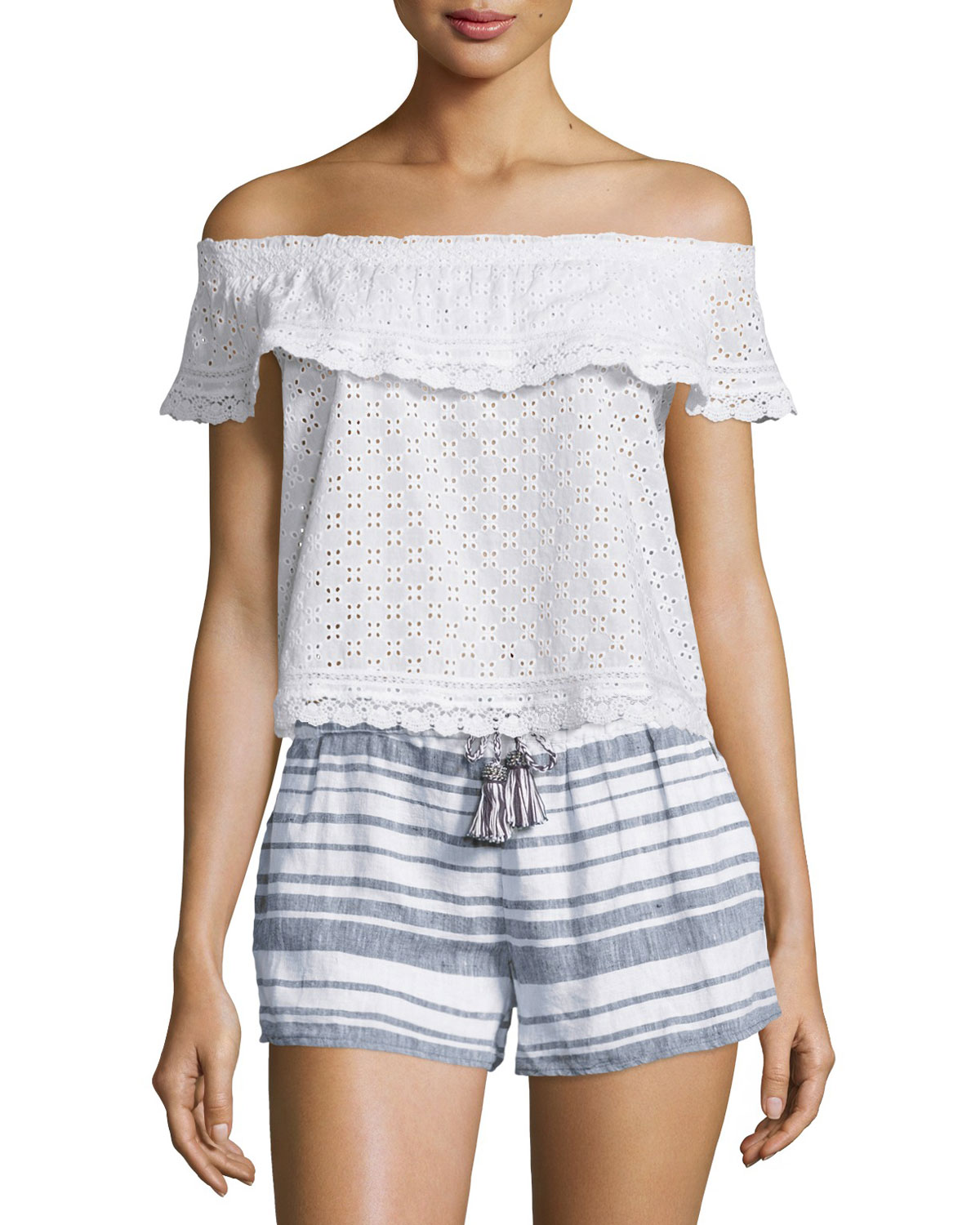 Calypso St. Barth Madel Off-The-Shoulder Eyelet Top, Coconut (White), Size: S