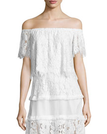 Fernanda Off-the-Shoulder Lace Crop Top, White