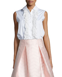 Orly Sleeveless Ruffled Blouse, White