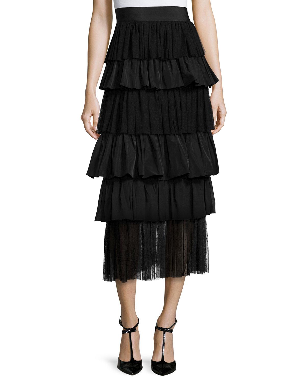 Alexis Miriella Tiered Midi Skirt, Black, Size: S
