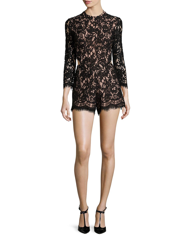 Alexis Brixen Long-Sleeve Lace Romper, Black, Size: M