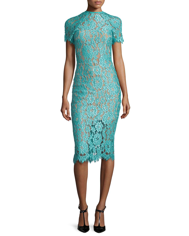 Alexis Leona Short-Sleeve Lace Sheath Dress, Turquoise, Size: S