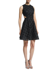 Sleeveless Dafina Metallic A-Line Dress, Black