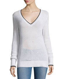 Maeve Contrast-Trim Sweater, White